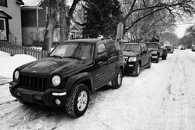4x4s Trucks And Suvs Parked Onstreet During Winter Caswell Hill Saskatoon Saskatchewan Canada Art Print