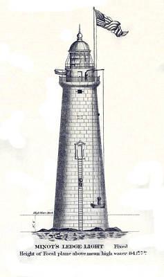 Ledge Drawing - 1852 Minot's Ledge Lighthouse by Jon Neidert
