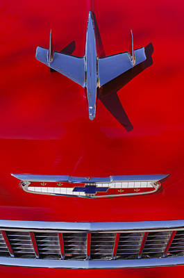1955 Photograph - 1955 Chevrolet Belair Nomad Hood Ornament by Jill Reger