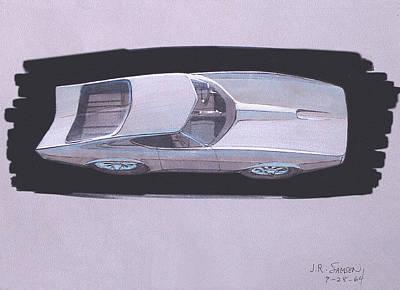 Concept Mixed Media - 1967 Barracuda   Plymouth Vintage Styling Design Concept Rendering Sketch by John Samsen