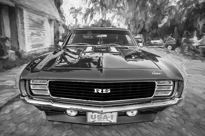 Chevrolet Camaro 396 Photograph - 1969 Chevy Camaro Rs Painted Bw   by Rich Franco
