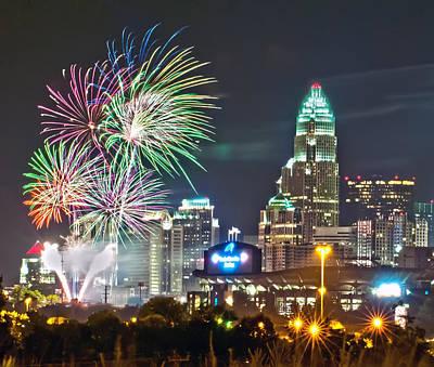 Valentines Day - 4th Of July Firework Over Charlotte Skyline by Alex Grichenko