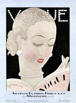 Updo Photograph - A Vintage Vogue Magazine Cover Of A Woman by Georges Lepape