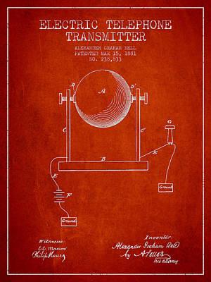 Alexander Graham Bell Electric Telephone Transmitter Patent From Art Print