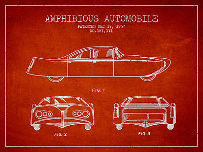 Antique Automobiles Digital Art - Amphibious Automobile Patent From 1957 by Aged Pixel