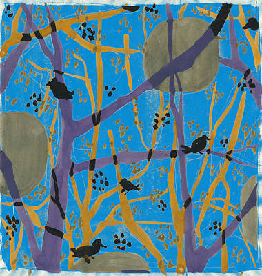 Fauna Painting - Anna Zaliski, Fine Art Of Nature. Trees And Birds by Artokoloro