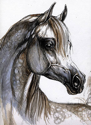 Ink Painting - Arabian Horse by Angel  Tarantella