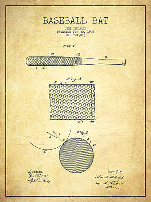 Softball Drawing - Baseball Bat Patent Drawing From 1904 by Aged Pixel