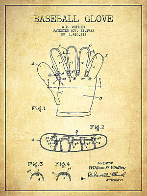 Baseball Gloves Wall Art - Drawing - Baseball Glove Patent Drawing From 1922 by Aged Pixel