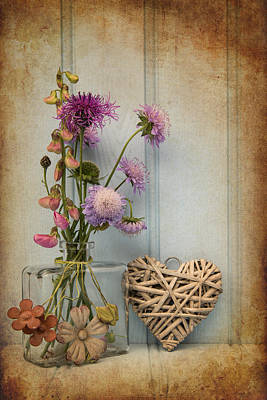Beautiful Flower In Vase With Heart Still Life Love Concept Art Print