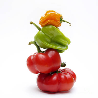 Green Color Photograph - Bell Peppers And Tomatoes by Bernard Jaubert