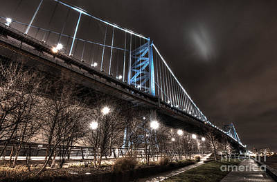 Philadelphia Skyline Photograph - Ben Franklin Bridge At Night by Mark Ayzenberg