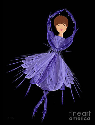 Purple Digital Art - 5 Blue Ballerina by Andee Design