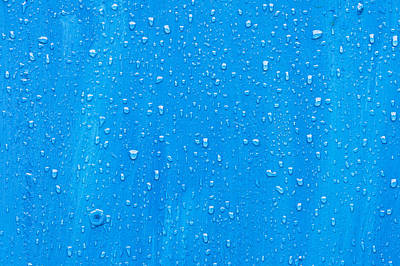 Rain Droplet Photograph - Blue Wood by Tom Gowanlock