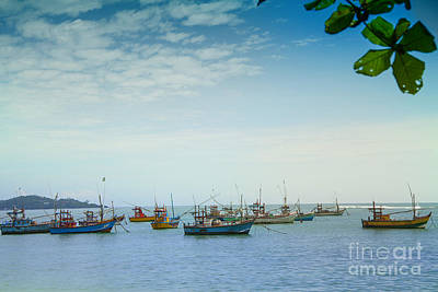 Red Photograph - boats in the harbour of Mirissa on the tropical island of Sri Lanka by Regina Koch