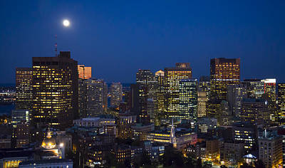 Architecture Photograph - Boston At Night, Massachusetts Ma by Dave Cleaveland