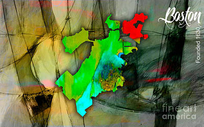 Old Mixed Media - Boston Map Watercolor by Marvin Blaine