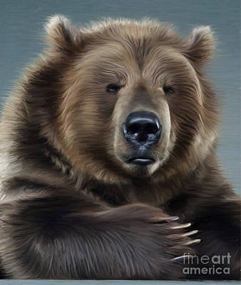 Kodiak Digital Art - Brown Bear by Aleksey Tugolukov