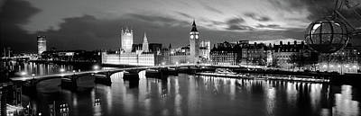 London Eye Wall Art - Photograph - Buildings Lit Up At Dusk, Big Ben by Panoramic Images