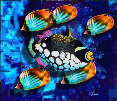 Clown Fish Mixed Media - 5 Butterfly Fishes by Edwin Rosado