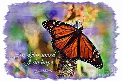 Psalm Digital Art - Butterfly Scripture by Jill Lang