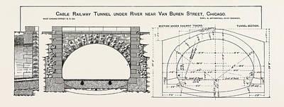 Portal Drawing - Cable Railway Tunnel Under River Near Van Buren Street by American School
