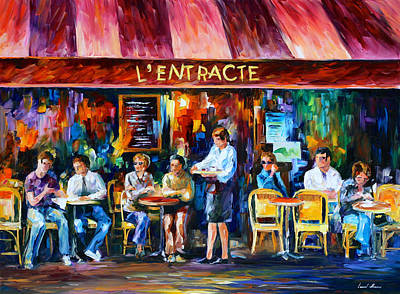 Amazing Stories Painting - Cafe In Paris by Leonid Afremov
