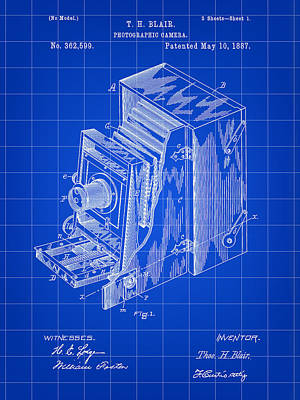 Nikon Digital Art - Camera Patent 1887 - Blue by Stephen Younts