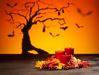Photograph - Candles In Halloween Setting by U Schade