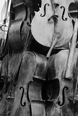 5 Cellos Black And White Art Print