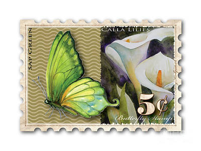 Lilies Royalty-Free and Rights-Managed Images - 5 Cent Butterfly Stamp by Amy Kirkpatrick