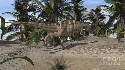 Gigantic Digital Art - Ceratosaurus Hunting In A Prehistoric by Kostyantyn Ivanyshen