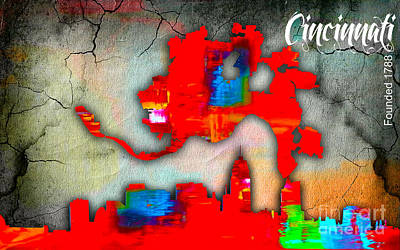 Cincinnati Ohio Mixed Media - Cincinnati Map And Skyline Watercolor by Marvin Blaine