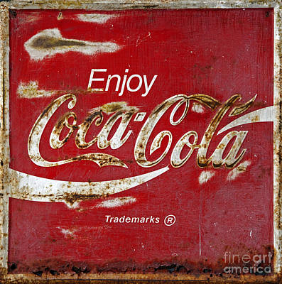 Coca Cola Vintage Rusty Sign Print by John Stephens