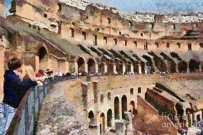 Painting - Colosseum In Rome by George Atsametakis