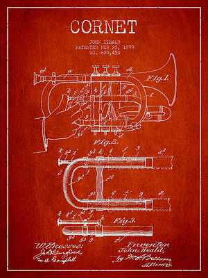 Trumpet Digital Art - Cornet Patent Drawing From 1899 - Red by Aged Pixel