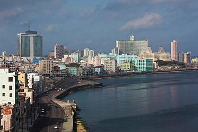 Malecon Photograph - Cuba, Havana, Vedado, Elevated View by Walter Bibikow