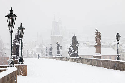 Statue Bridge Photograph - Czech Republic, Prague - Charles Bridge by Panoramic Images