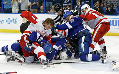 Photograph - Detroit Red Wings V Tampa Bay Lightning by Mike Carlson