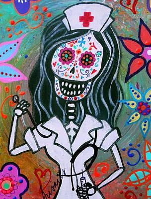 Dia De Los Muertos  Nurse Original by Pristine Cartera Turkus