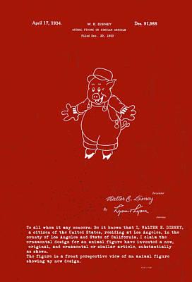 Fiddler Digital Art - Disney Pig Patent by Marlene Watson