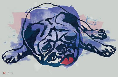 Abstract Pop Drawing - Dog Stylised Pop Modern Etching Art Portrait by Kim Wang