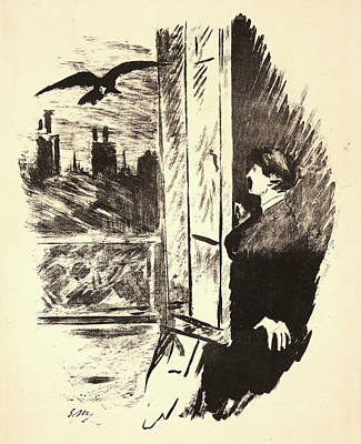 Fling Drawing - Édouard Manet French, 1832 - 1883. The Raven Le Corbeau by Litz Collection