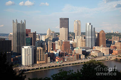 Downtown Skyline Of Pittsburgh Pennsylvania Art Print by Bill Cobb