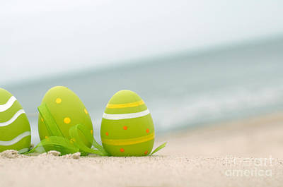 Egg Photograph - Easter Decorated Eggs On Sand by Michal Bednarek