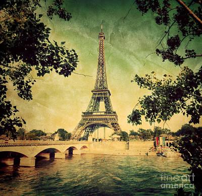 Retro Photograph - Eiffel Tower And Bridge On Seine River In Paris by Michal Bednarek