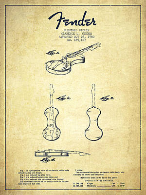Violin Drawing - Electric Violin Patent Drawing From 1960 by Aged Pixel