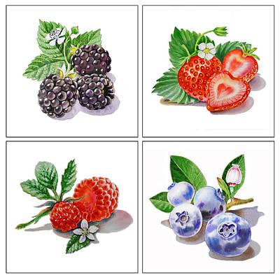 Juicy Strawberries Painting - Farmers Market Delight  by Irina Sztukowski