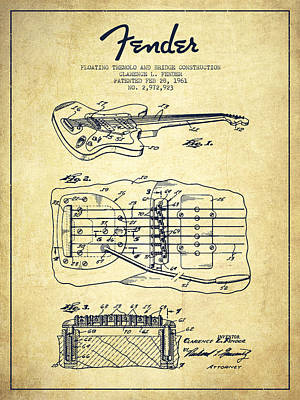 Bass Digital Art - Fender Floating Tremolo Patent Drawing From 1961 - Vintage by Aged Pixel