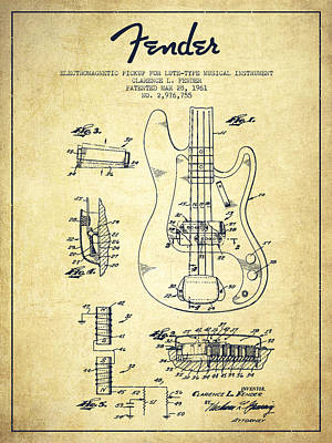 Smallmouth Bass Digital Art - Fender Guitar Patent Drawing From 1961 by Aged Pixel